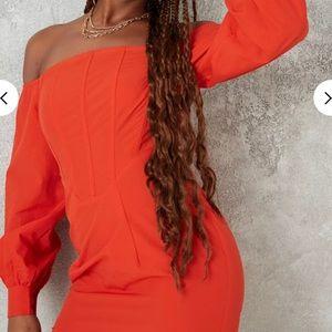 orange bardot corset detail mini dress